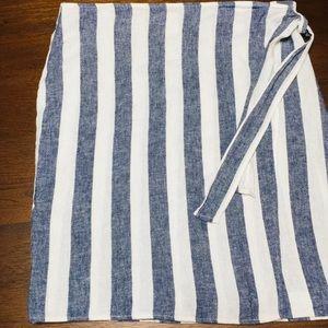 Ellen Tracy Linen Faux Wrap Skirt - Size XL